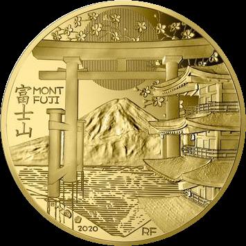 Франция монета 50 евро Гора Фудзияма, реверс