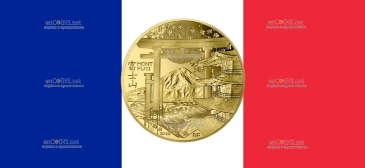 Франция монета 50 евро Гора Фудзияма