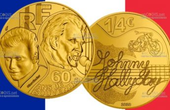 Франция монета четверть евро Джонни Холлидей