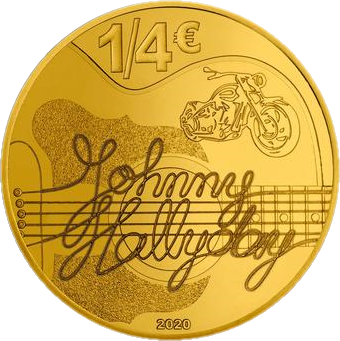 Франция монета четверть евро Джонни Холлидей, аверс