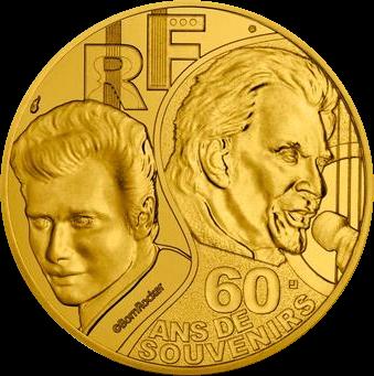Франция монета четверть евро Джонни Холлидей, реверс