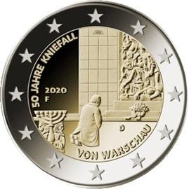 Германия монета 2 евро Коленопреклонение в Варшаве, реверс
