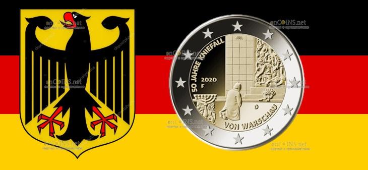 Германия монета 2 евро Коленопреклонение в Варшаве