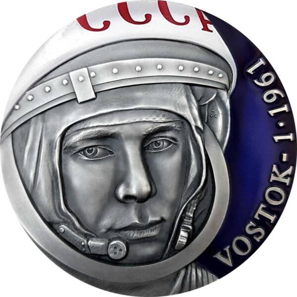 Камеру монета 3000 франков КФА Юрий Гагарин, реверс