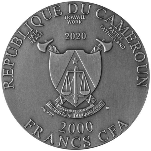 Камерун монета 2000 франков КФА Будда, аверс