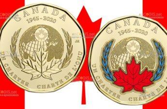 Канада монета 1 доллар 75 лет создания ООН