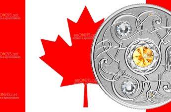 Канада монета 5 долларов Камень ноября