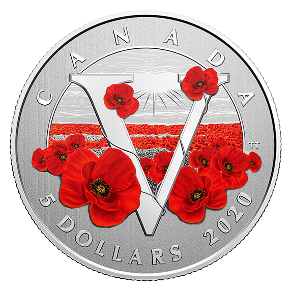 Канада монета 5 долларов Монета Памяти, реверс