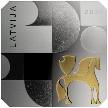 Латвия монета 5 евро Модернизм в Латвии, аверс