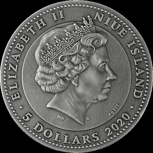 Ниуэ монета 5 долларов Янтарный скарабей, аверс