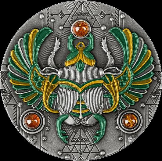 Ниуэ монета 5 долларов Янтарный скарабей, реверс