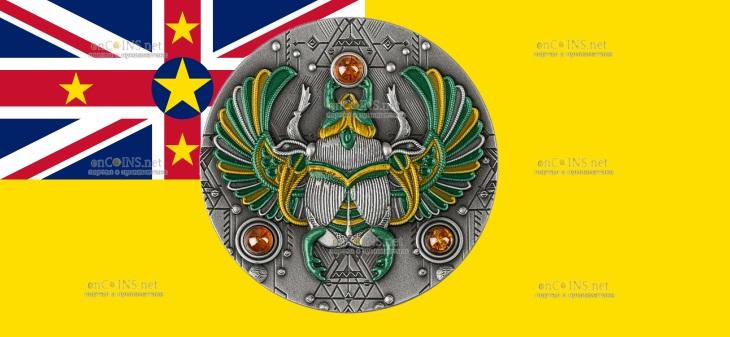 Ниуэ монета 5 долларов Янтарный скарабей
