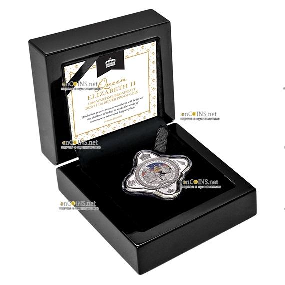 Токелау монета 1 доллар Первое публичное выступление Елизавета II, подарочная упаковка