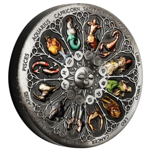 Тувалу монета 5 долларов Знаки Зодиака, реверс