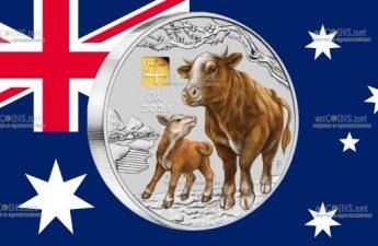 Австралия монета 30 долларов Год Быка