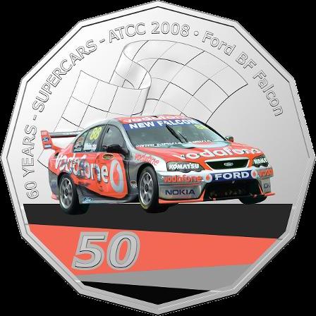 Австралия монета 50 центов Ford BF Falcon, реверс