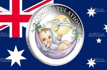 Австралия монета 50 центов Поздравляю с новорожденным, реверс