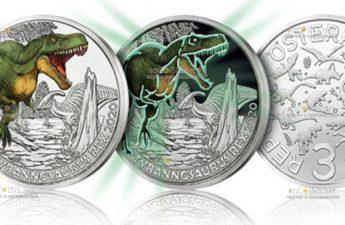 Австрия монета 3 евро Тиранозавр Рекс