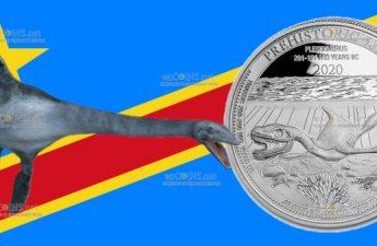 Демократическая Республики Конго монета 20 франков Плезиозавр