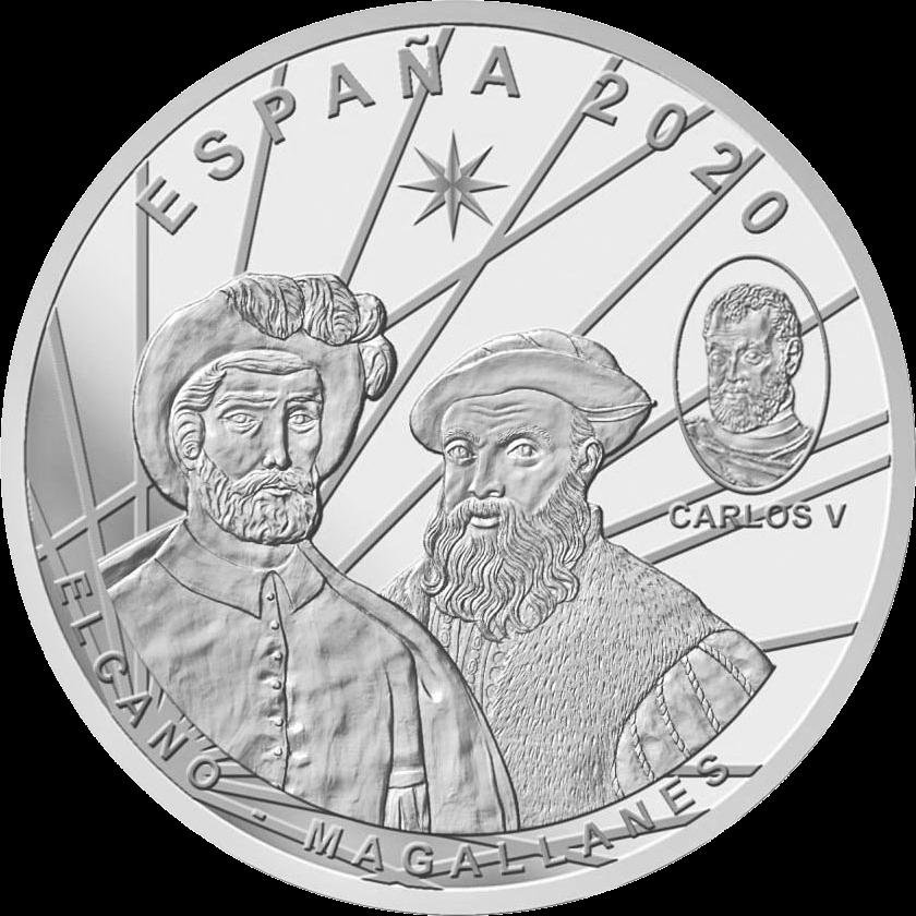 Испания монета 10 евро Первое кругосветное путешествие, ареверс