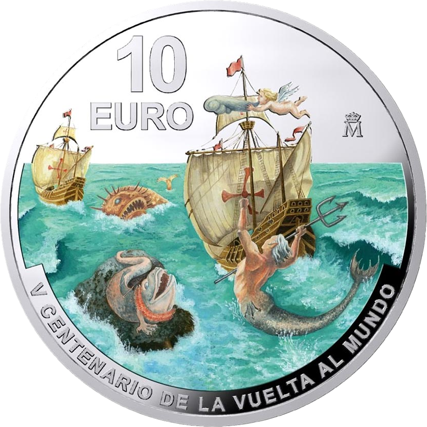 Испания монета 10 евро Первое кругосветное путешествие, аверс