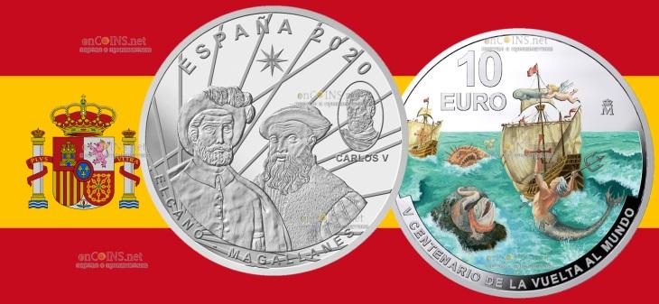 Испания монета 10 евро Первое кругосветное путешествие