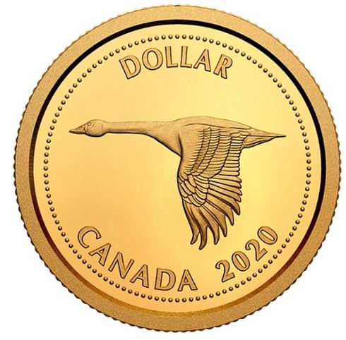 Канада монета 1 доллар Канадский гусь, реверс