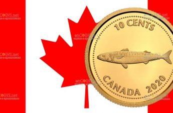 Канада монета 10 центов Скумбрия