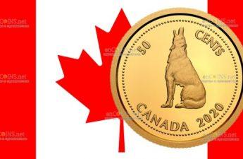 Канада монета 50 центов Канадский Волк