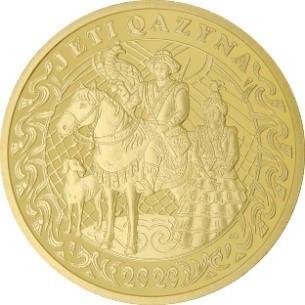 Казахстан монета 500 тенге JETI QAZYNA, золото, реверс
