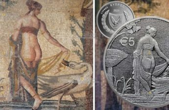Кипр монета 5 евро Леда и лебедь