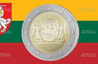 Литва монета 2 евро Аукштайтии