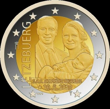 Люксембург монета 2 евро Принц Чарльз Люксембургский, реверс
