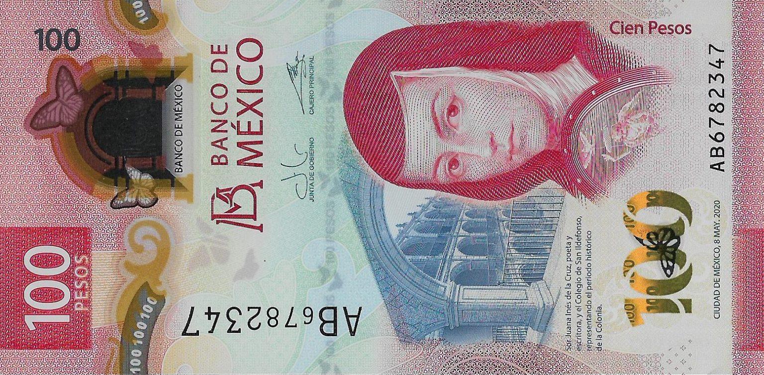 Мексика банкнота 100 песо 2020 год, лицевая сторона