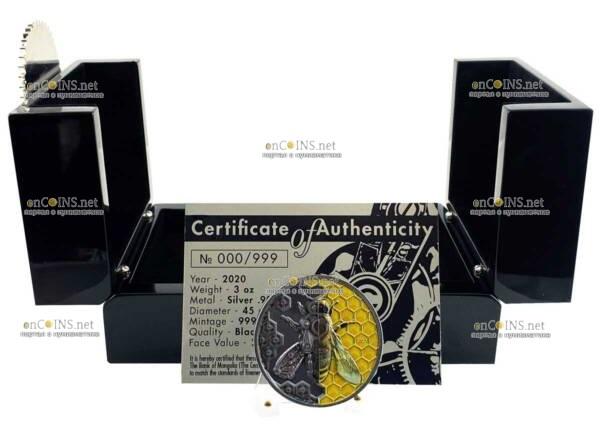 Монголия монета 2 000 тугриков Пчелы-прототипы Терминатора, подарочная упаковка
