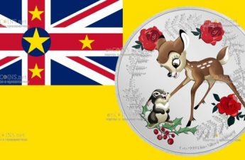 Ниуэ монета 2 доллара Бэмби и Тампер