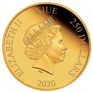 Ниуэ монета 250 долларов Назад в будущее, аверс