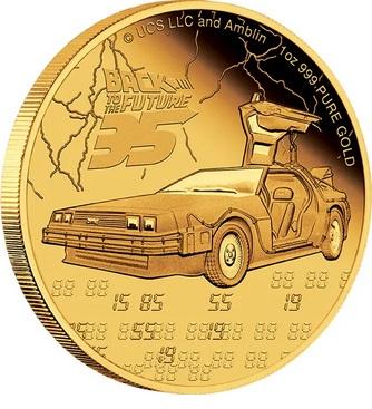 Ниуэ монета 250 долларов Назад в будущее, реверс