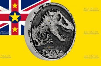 Ниуэ монета 5 долларов Мир Юрского периода
