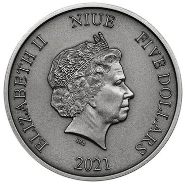 Ниуэ монета 5 долларов Мир Юрского периода, аверс