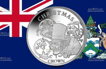 Остров Вознесения монета 1 крона Рождественская история