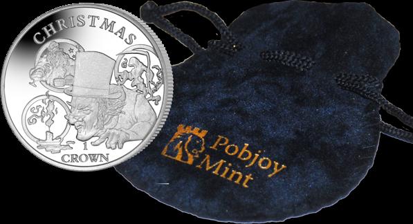 Остров Вознесения монета 1 крона Рождественская история, подарочная упаковка