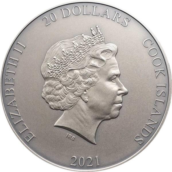 Острова Кука монета 20 долларов аверс, 2021 год