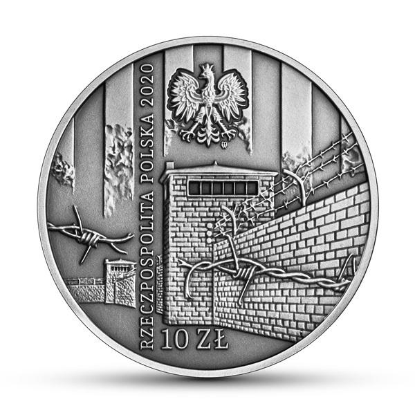 Польша монета 10 злотых Жертвам восстания в еврейском гетто в Варшаве, аверс
