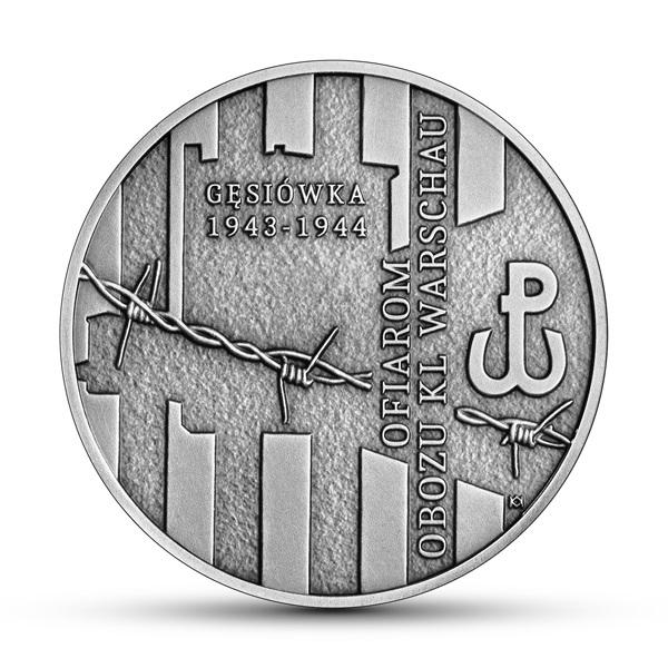 Польша монета 10 злотых Жертвам восстания в еврейском гетто в Варшаве, реверс