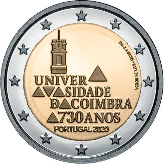 Португалия монета 2 евро Коимбрский университет, реверс