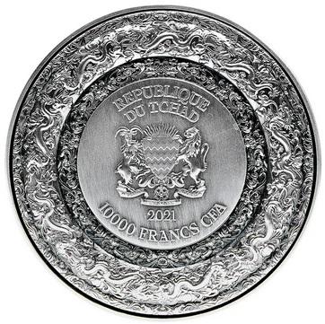 Республика Чад выпускает монету 10 000 франков КФА Запретный Дракон, аверс