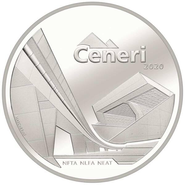 Швейцария монета 20 франков туннель Сенери, реверс