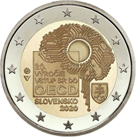 Словакия монета 2 евро 20 лет вступления Словакии в ОЭСР, реверс