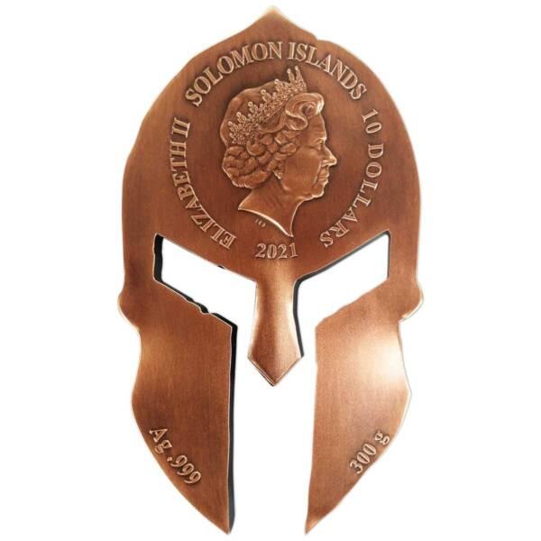 Соломоновы монета 10 долларов Шлем Спартанского Воина, аверс